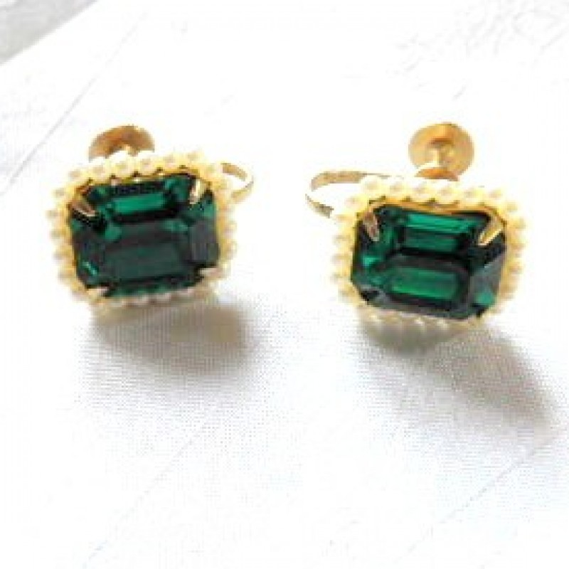 coro Emerald Earrings