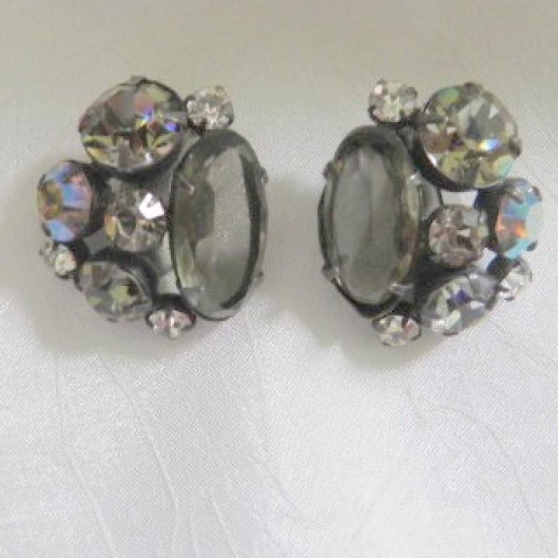 Grey Rhinestone Earrings