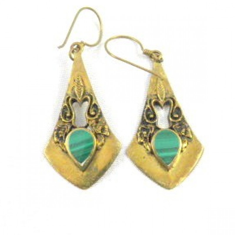 Green/Gold Pendulem Earrings