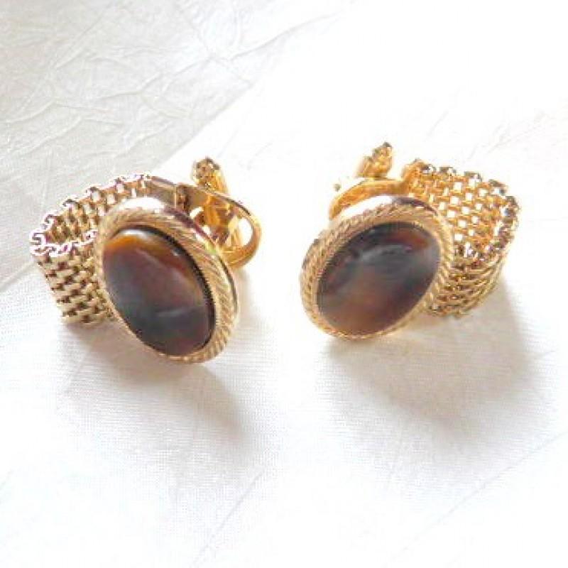 Brown/Gold Cufflinks
