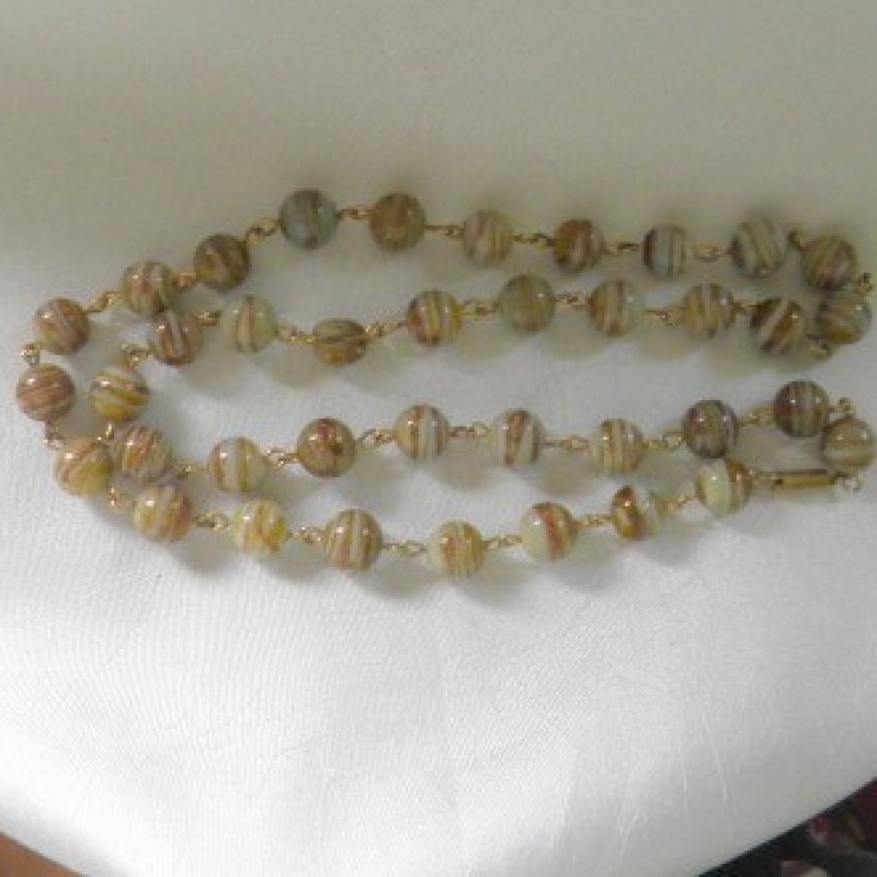Beige Glass Beaded Necklace
