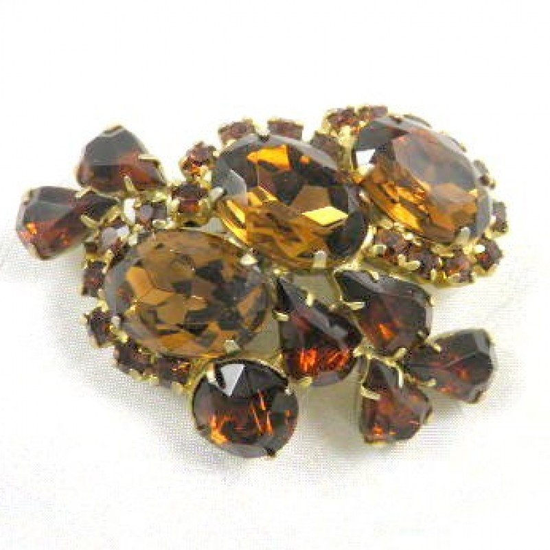 Brown Rhinestone Pin