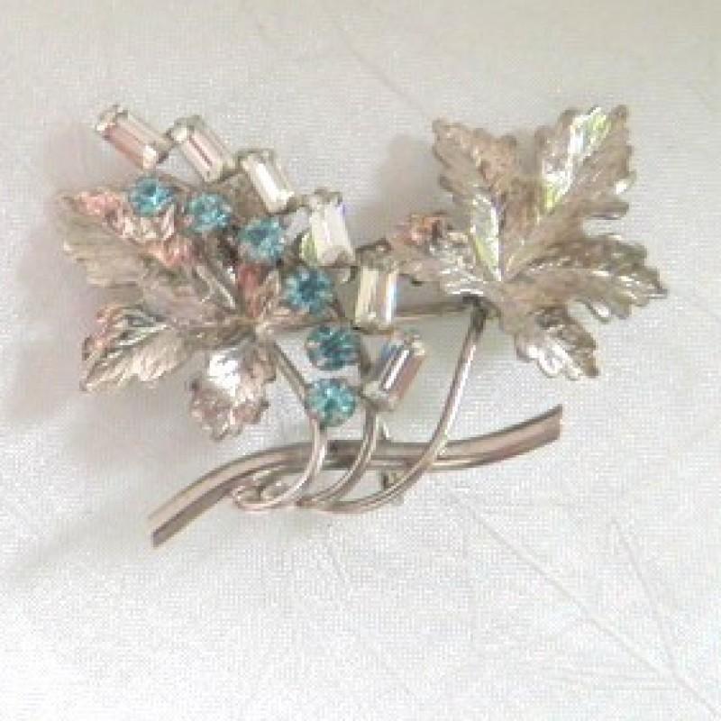 Aqua Floral Pin