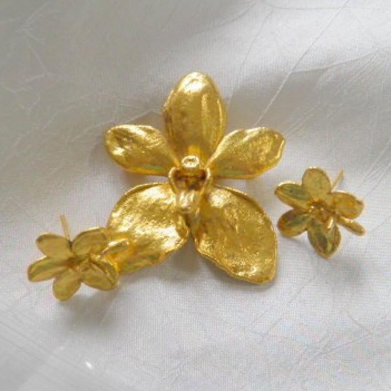 Orchid pin & Earrings