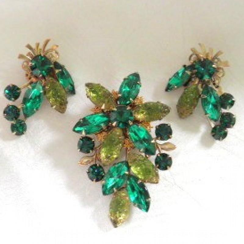 Green Pin & Earring Set